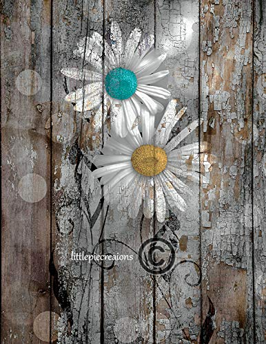 Teal Yellow Brown Wall Decor, Rustic Modern Daisy Flowers Home Decor Wall Art Matted Picture
