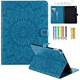 iPad Air 2 Case,LittleMax(TM) Embossed PU Leather Auto Wake/Sleep Flip Stand Case [Card Slots] Smart Shell Magnetic Closure Folio Cover for Apple iPad Air 2 9.7-Inch Model -#2 Blue