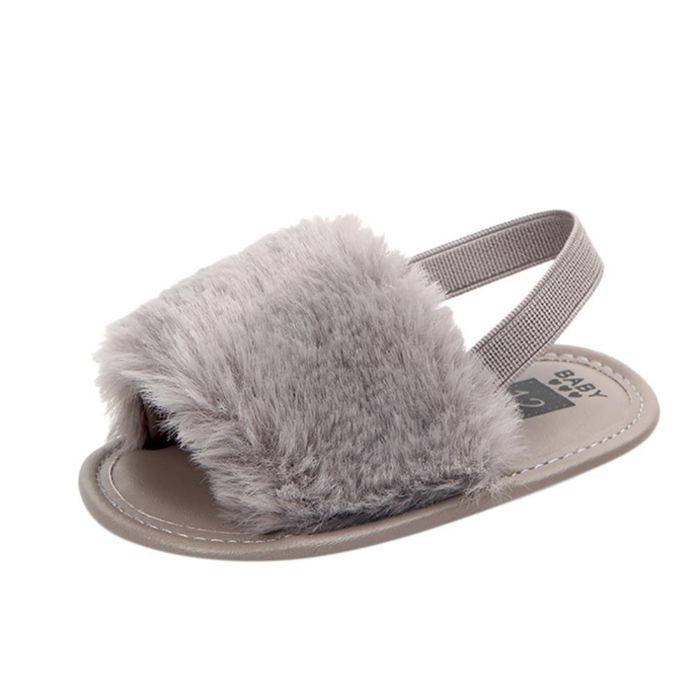 Rosa, 6-9 Meses ❤️ Manadlian Zapatilla de Beb/é Infantil Reci/én Nacido Carta S/ólida Sandalias Suaves Flock Zapatilla Zapatos casuales /¡Verano caliente