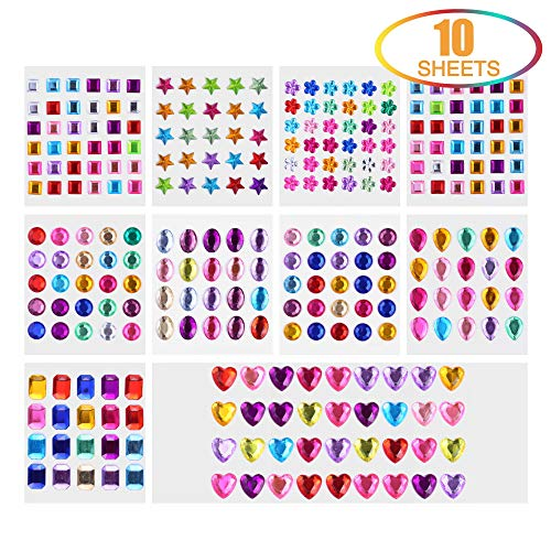 Lucky Goddness Self-Adhesive Rhinestone Sticker Bling Craft Jewels Crystal Flatback Gem Stickers, Assorted 8 Shapes, 10 Sheets, Multicolor2