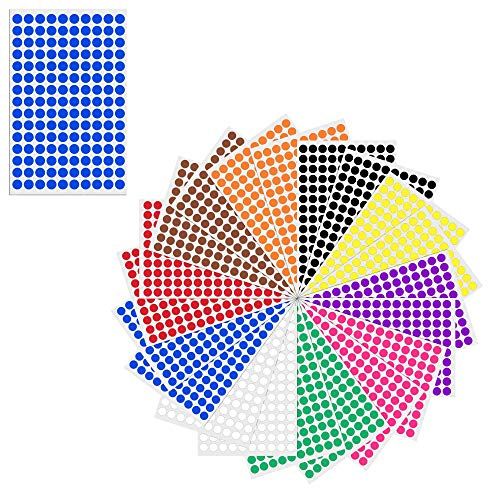 1cm Round Colour Coding Circle Sticker Labels - 10 Assorted Colours, Pack of 3000