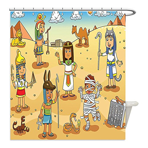 Diy Mummy Costume Ideas (Liguo88 Custom Waterproof Bathroom Shower Curtain Polyester Cartoon Decor Illustration Of Historical Egyptian Characters With Pyramids Cleopatra King Mummy Child Decor Decor Multi Decorative bathro)