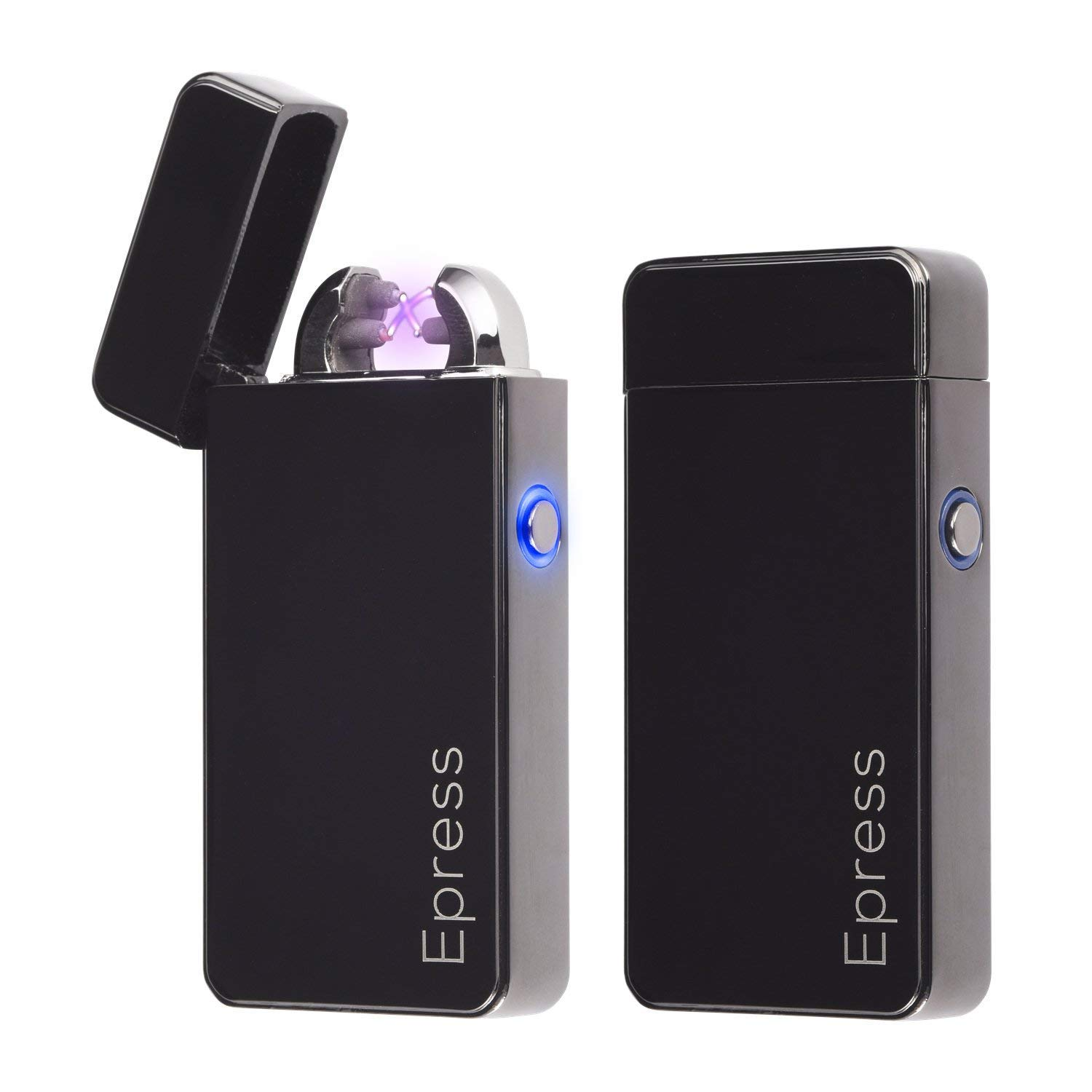 Electronic Cigarette Lighters 2 Pack, Epress Dual Arc Electric Plasma Lighter USB Rechargeable Cigarette Lighter Metal Beam Lighters
