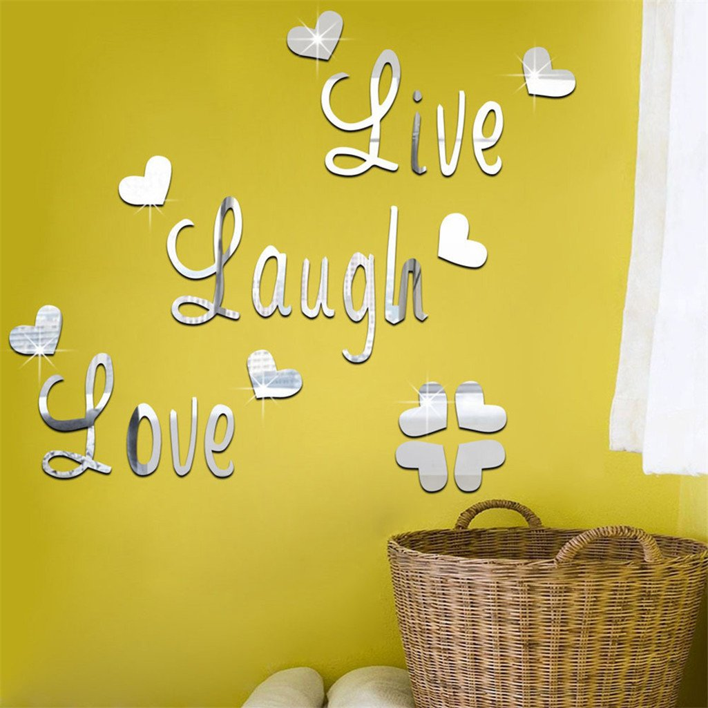 Amazon.com: Gilroy Home 3D Removable Wall Stickers Live Laugh Love ...