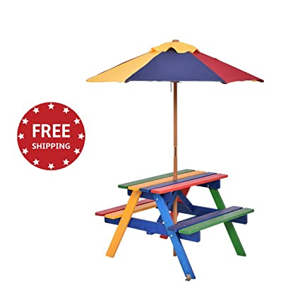 Merveilleux Patio Set For Kids Picnic Wood Table Bench With Umbrella Perfect For  Outdoor/Indoor Children