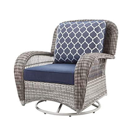 Prime Hampton Bay Beacon Park Gray Wicker Outdoor Swivel Lounge Chair With Midnight Cushions Include Free Furniture Cleaning Towelettes Beatyapartments Chair Design Images Beatyapartmentscom