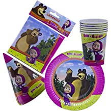 Bright Holiday Set for Children Masha and the Bear Must Have for Party Supplies and Birthday New Year's Tableware Colored Napkins Paper Plates Funny Hats Drinking Glasses Masha y el Oso