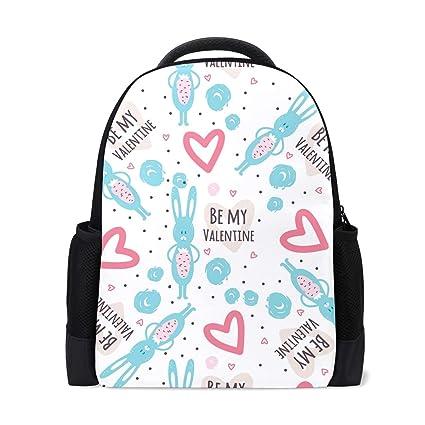 Amazon.com  DEZIRO Polyester Be My Valentine Rabbits School Bag for ... fbeda40a9acca