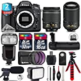 Holiday Saving Bundle for D7100 DSLR Camera + 55-200mm VR II Lens + AF-P 18-55mm + Flash with LCD Display + Battery Grip + Shotgun Microphone + LED Kit + 2yr Warranty - International Version
