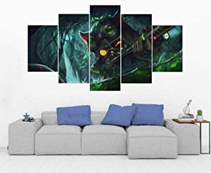 YDME Fall Decor for Home Halloween Decorations Hd Printed Canvas Painting Modern Wall Art Decor 5 Pieces Teemo Poster Indoor Decorations -150X80cm