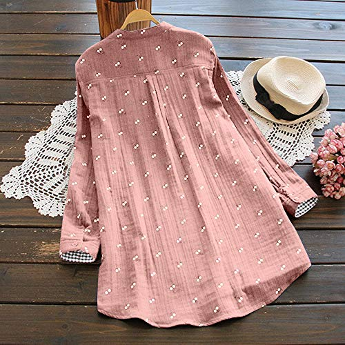 mode Retro grootte druk met hals Casual Top ronde blouse losse knopen Zou riou shirt shirt sportieve grote laag roze dubbele afgedrukte grote Plus maat T T Womens wqHxw7BAp