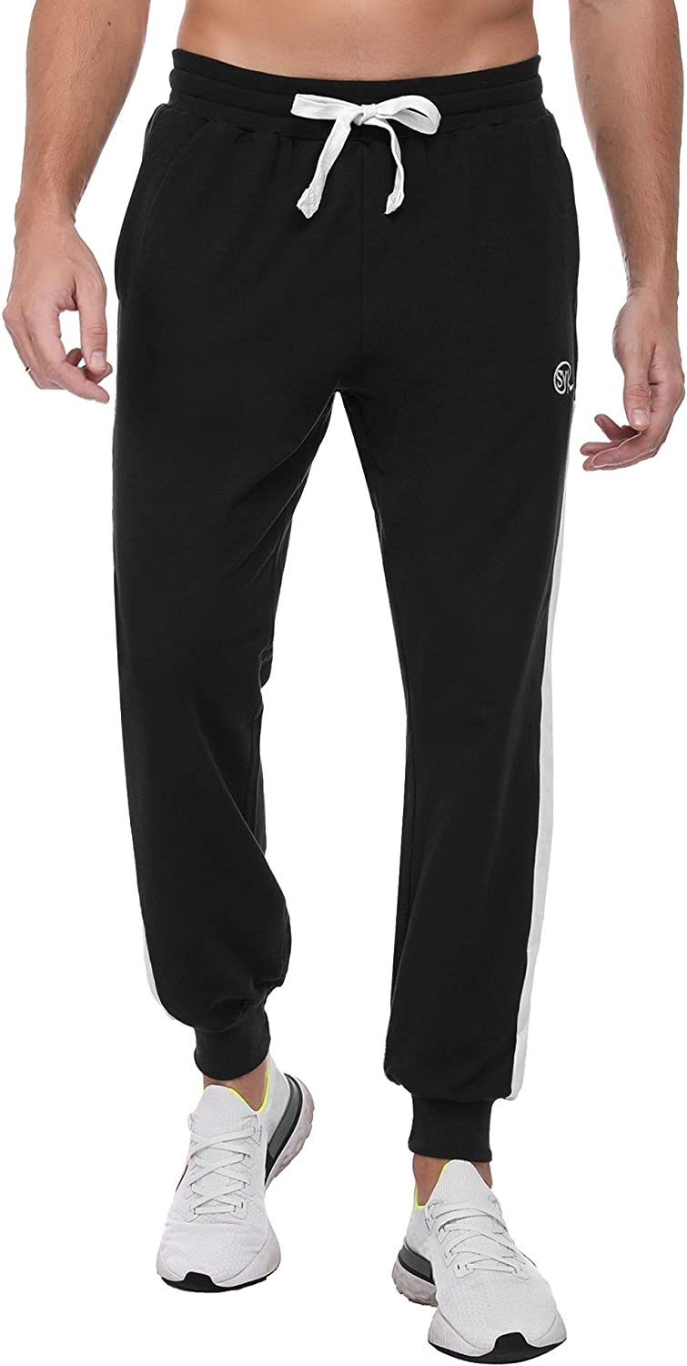 Sykooria Mens 100% Cotton Sports Sweatpants with Pockets Jogger Workout Running Athletic Training Pants for Men
