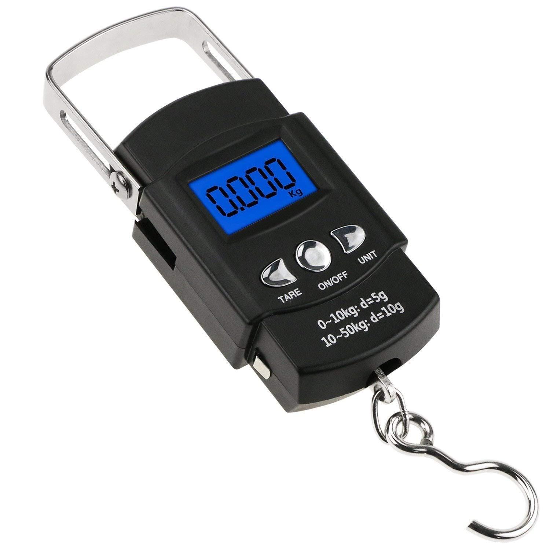Escala de equipaje Digital portátil, maleta de viaje, pesas con pantalla LCD para viaje al aire libre, 10 g ~ 50 kg: Amazon.es: Hogar