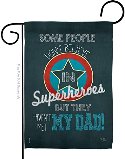 Breeze Decor Superhero Dad Garden Flag Family Father S Day Daddy Papa Grandpa Best Parent Sibling Relatives Grandparent House Decoration Banner Small Yard Gift Double Sided Made In Usa 13