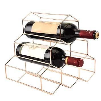 Honeycombo - Botellero de 6 botellas de vino, apilable, de acero inoxidable, para casa, bar, oficina, botella, organizador de vino, ahorra espacio