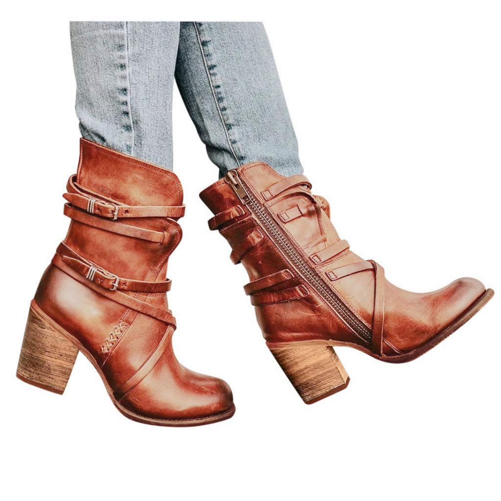 Women's Side Zip Retro Booties Casual Mid Calf Chunky Stacked Heel Gladiator Combat Riding Boots (US:8.0, Brown) by sweetnice Women Shoes