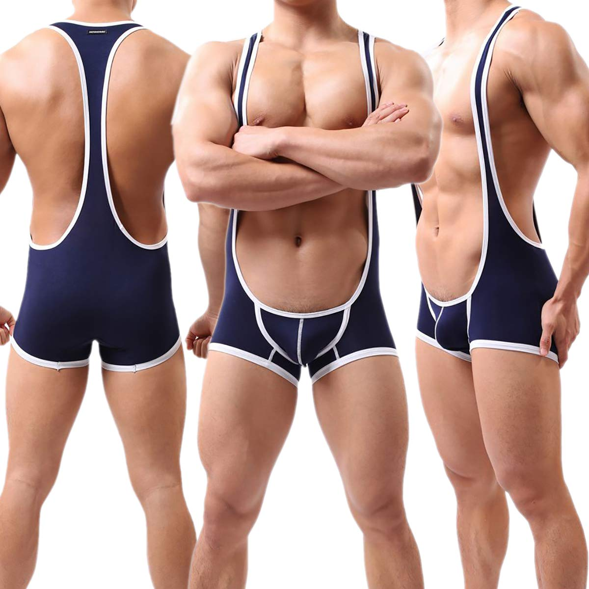 Yeke Men Sexy Body Leotard Freestyle Wrestling Singlet Backless Smooth Bodysuit W06 (M, Blue)