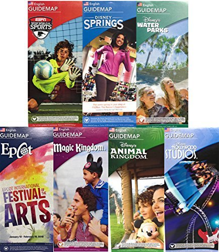 Walt Disney World Resort Parks Attraction Vacation Planning Guide Maps of All Four Parks, Disney Springs, Waterparks and ESPN Wide World of Sports