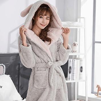 Albornoces ZLR Otoño Invierno Temporada Señora Pijamas de Dibujos Animados Lindo Nueva Sección Thickening Sleep Robe
