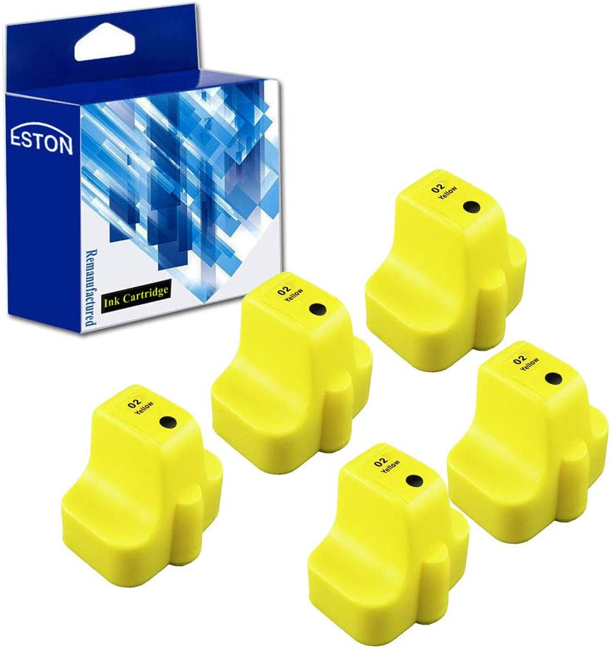 ESTON Remanufactured Replacements for HP 02 Yellow Ink Cartridges (5 Yellow) Compatible for HP photosmart C5180 C6180 C6280 C7180 C7280 C7200