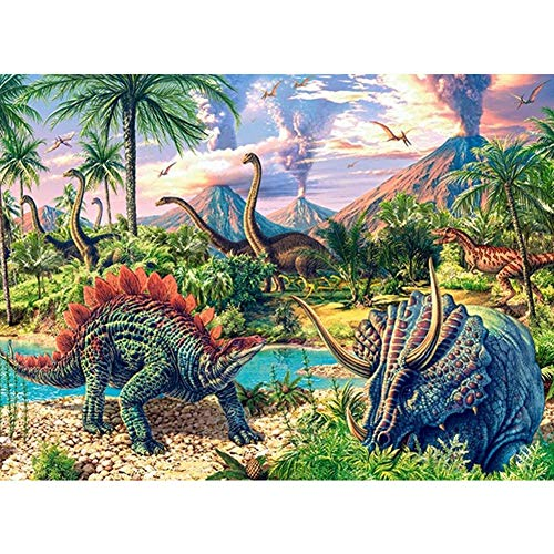 Diamond Painting Kits for Adults, Kids. Office Decoration, Home Room Dinosaur World 15.7x11.8in 1 Pack by Juntop