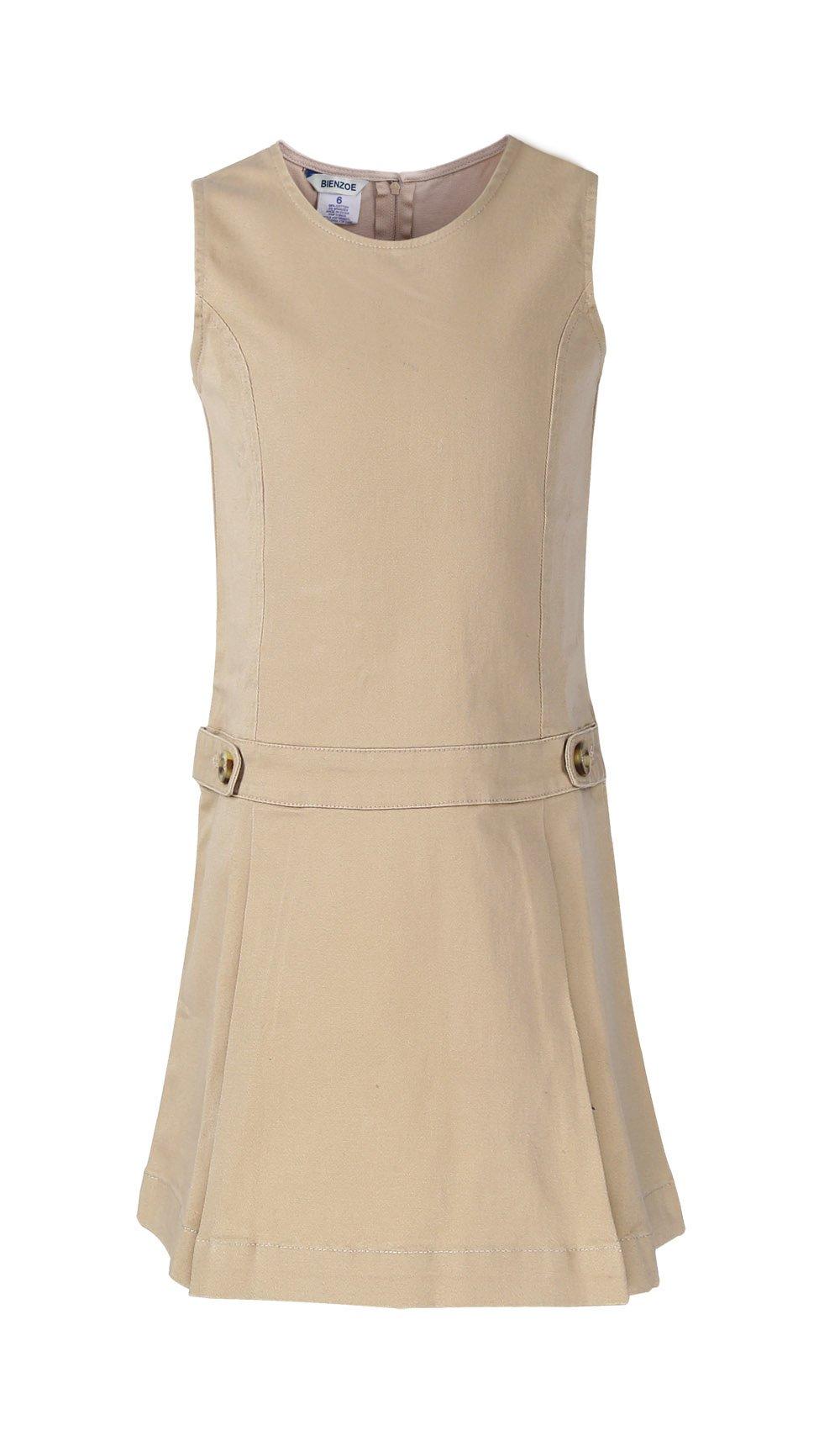 Bienzoe Girls Cotton Stretchy Twill Jumper School Uniforms Button Dress