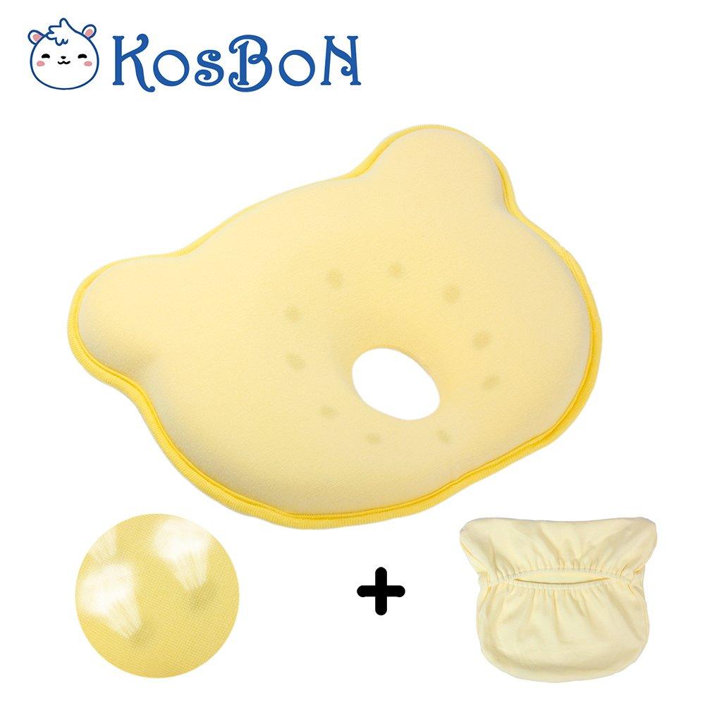 KOSBON Amarillo almohadilla respirador cabeza Posicionador bebé, espuma de memoria suave Prevenir cabeza de cabeza plana almohada recién nacido (forma de oso).