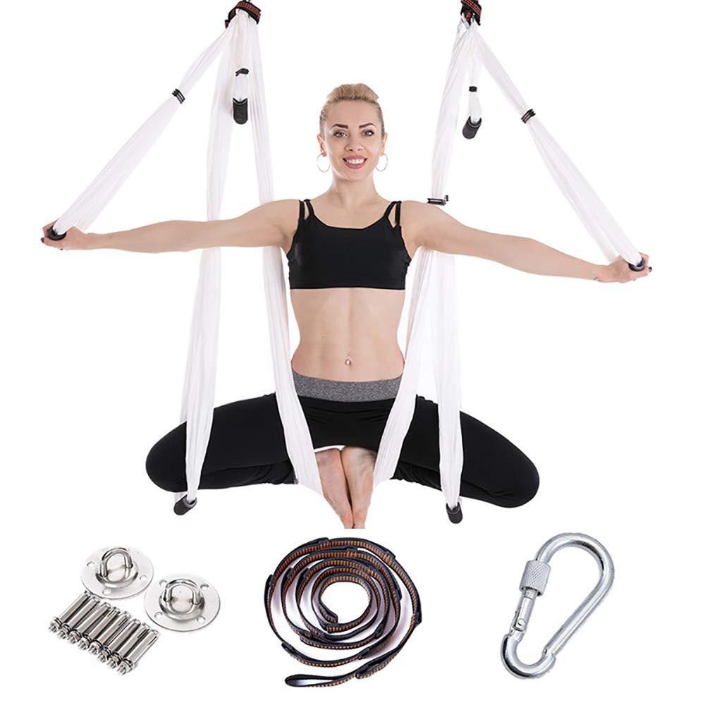 Aerial Yoga Swing - エアヨガの反転練習のための超強力な反重力ヨガハンモック/ブランコ/スリング - エクステンションストラップ2本、カラビナを含む  white B07R9YY49R