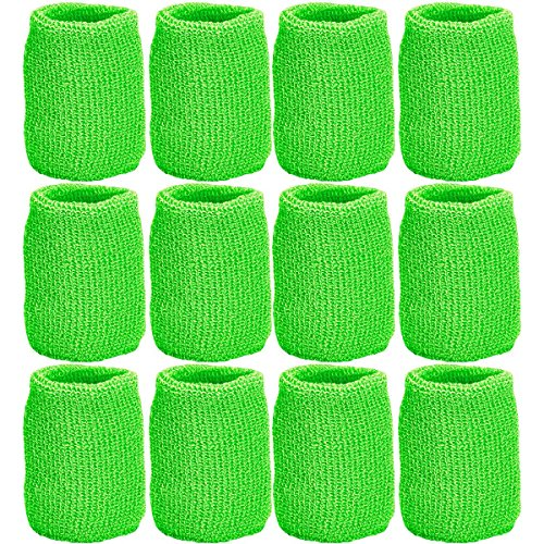 Unique Sports Team Wristbands (6 Pair), Neon Green, One Size