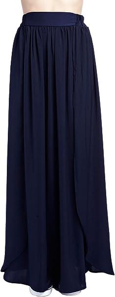 Q2 Mujer Falda larga azul drapeada - XS - Azul: Amazon.es: Ropa y ...