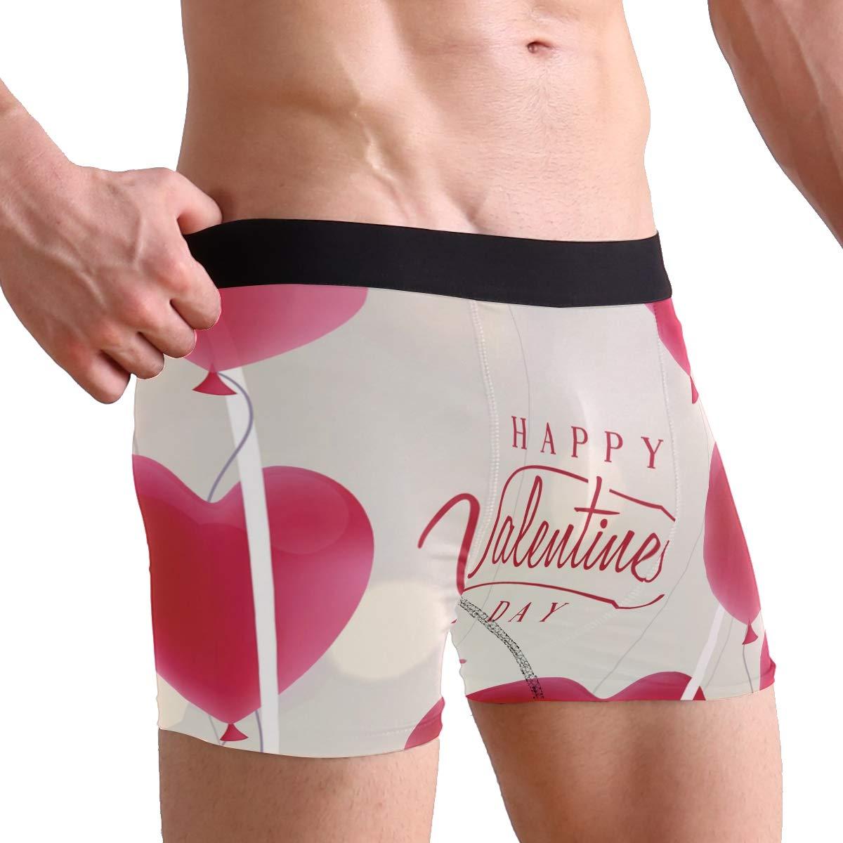 SUABO Men Boxer Briefs Polyester Underwear Men 2 Pack Boxer Briefs for Valentines Gift with Valentines Day Balloon Pattern