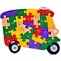 lakshya Wooden Shaped Coloured 26 Letter Alphabet Block Puzzle for Nursery Kids A to Z and 1 to 26 for Help Kids to Learn Letters and Number and Also Colour Recognition Toy. (Taxi)