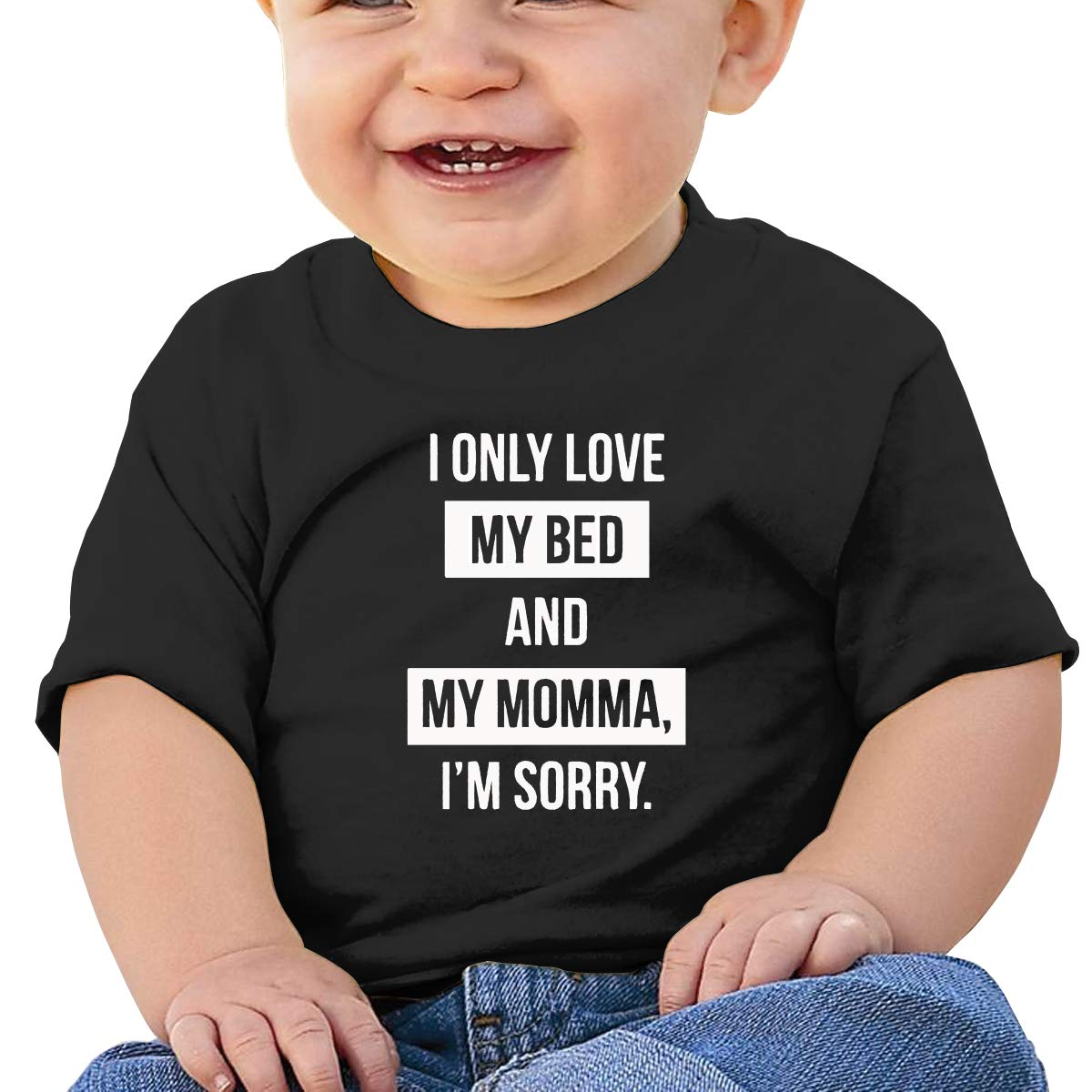 I Only Love My Bed and My Mama I'm Sorry Bodysuit Unisex Toddler Short Sleeves T-Shirt One-Piece Black