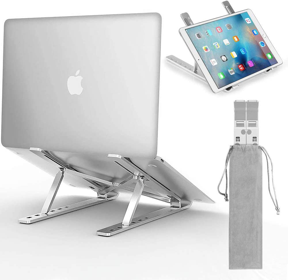 AODOOR Laptop Stand,Aluminum Computer Notebook Stand Tablet Stand Adjustable 6 Levels Height Foldable Desktop Holder Compatible with Computers/Laptops/Tablets up to 15.6 inch, Silver