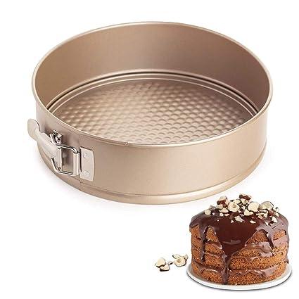 BESYZY - Molde antiadherente para tartas (17cm, cierre rápido, antigoteo, forma de resorte, redonda, para tartas, sartén de queso, con parte inferior ...