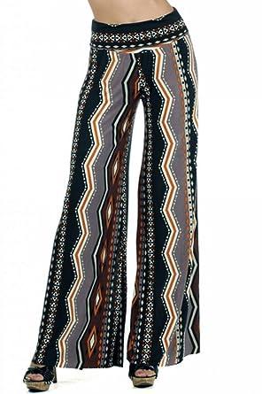 3bfae214cbe6 Palazzo Fashion Women's Plus Size Tribal Print Palazzo Pants 1X Brown at  Amazon Women's Clothing store: