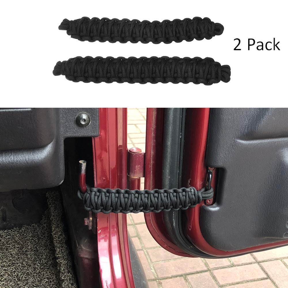 ZGAUTO Jeep Wrangler | Paracord Door Limiting Straps CJ YJ TJ JK | 550 Pound Strength Durable Swing Limiter Restrictor Pair (2 Pieces, Black)