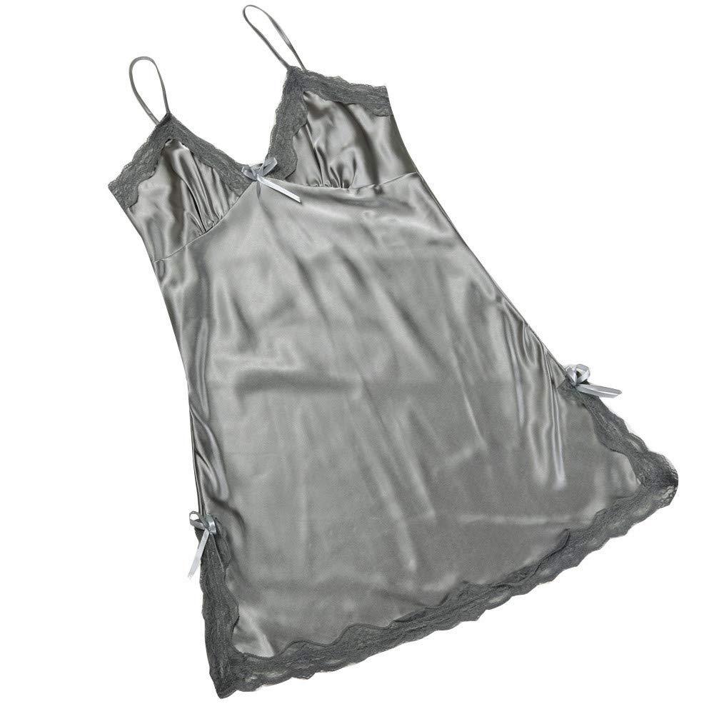 Lmx+3f Women Sexy Lace Hem Dress Lingerie Spaghetti Strap Nightdress Nightwear Sleepwear Underwear