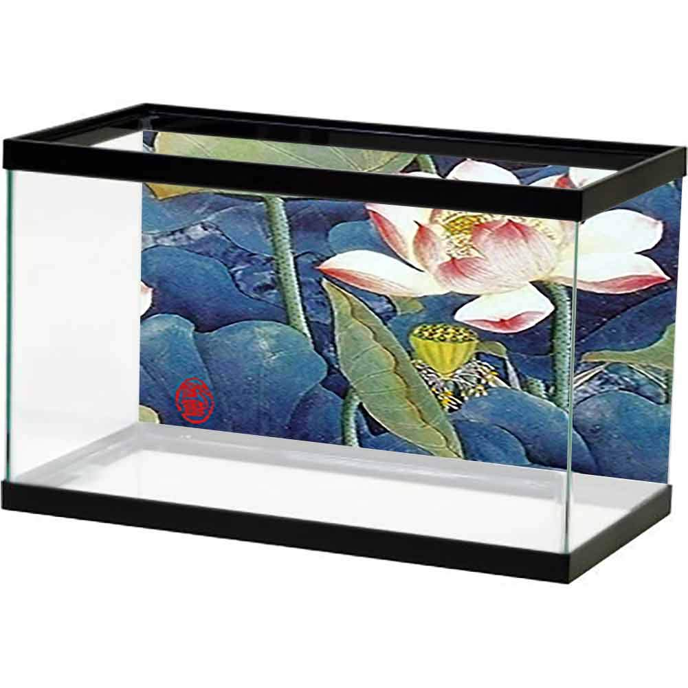 bybyhome Fish Tank Sticker Oil Painting, White Lotus and Green Lotus Leaf. Waterproof, Durable and Easy Clean by bybyhome