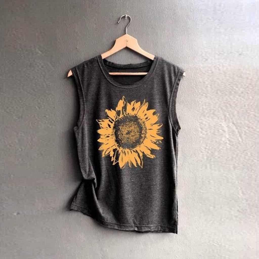 Hot! Women Casual Sunflower Print Tank Tops GoodLock Ladies Fashion Sleeveless Loose Soft Shirts Top
