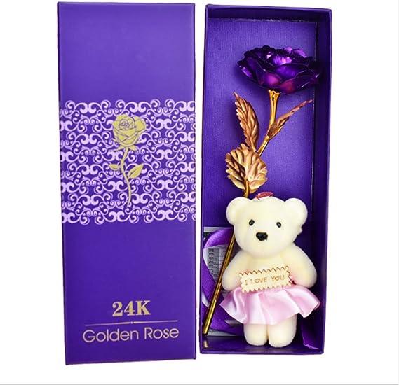 Image ofRosepoem Rosa 24 K Chapado en Oro Rosa Flor con Caja de Regalo Mejor Regalo para el día de San Valentín Día de la Madre Navidad cumpleaños