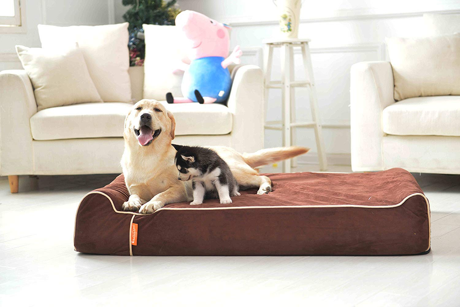 Laifug Thick High Grade Orthopedic Memory Foam Dog Bed with Pillow and Easy to Wash Removable Cover with Durable Waterproof Liner