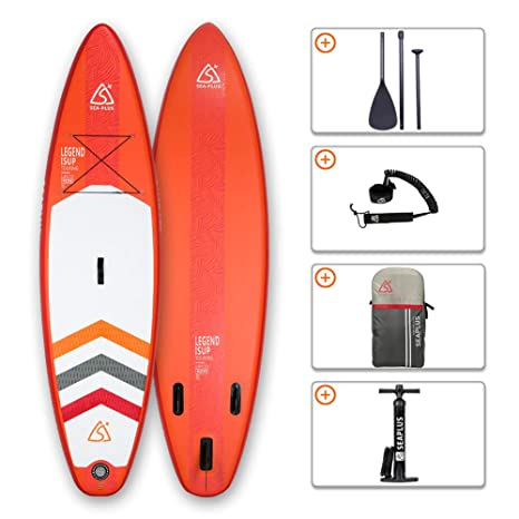 "SEAPLUS Tabla de Paddle Surf Hinchable Sup Inflatable Stand up Paddle Board 108 LB-R 108""*32""*6"" con Inflador/Remo/Mochila/Leash/Fin,Carga hasta 130 ..."