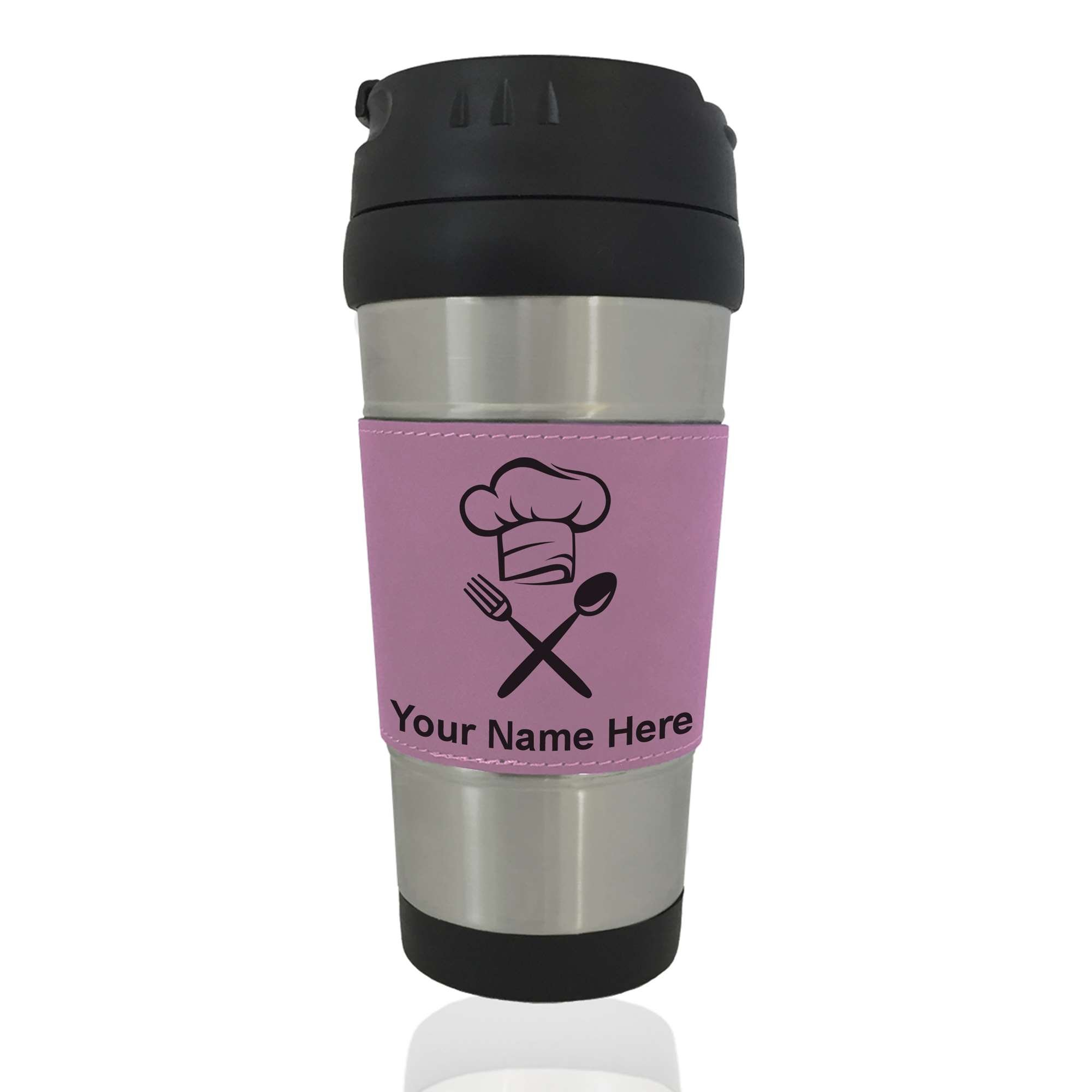 Travel Mug - Chef Hat - Personalized Engraving Included (Pink)