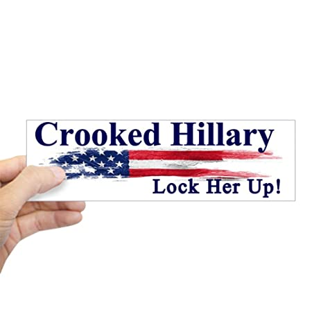 Cafepress crooked hillary lock her up bumper sticker 10x3 rectangle bumper