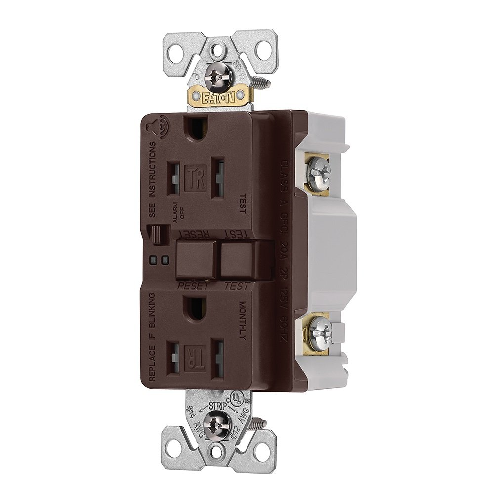Eaton TRSGFA15B Aaron Hart 15A 125V Tamper Resistant Gfci Receptacle with Audible Alarm, Brown