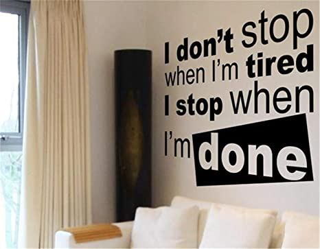Comerya Vinyl Wall Sticker Mural Letter Quotes Wall Decals I Don T Stop When I M Tired Workout Home Kitchen