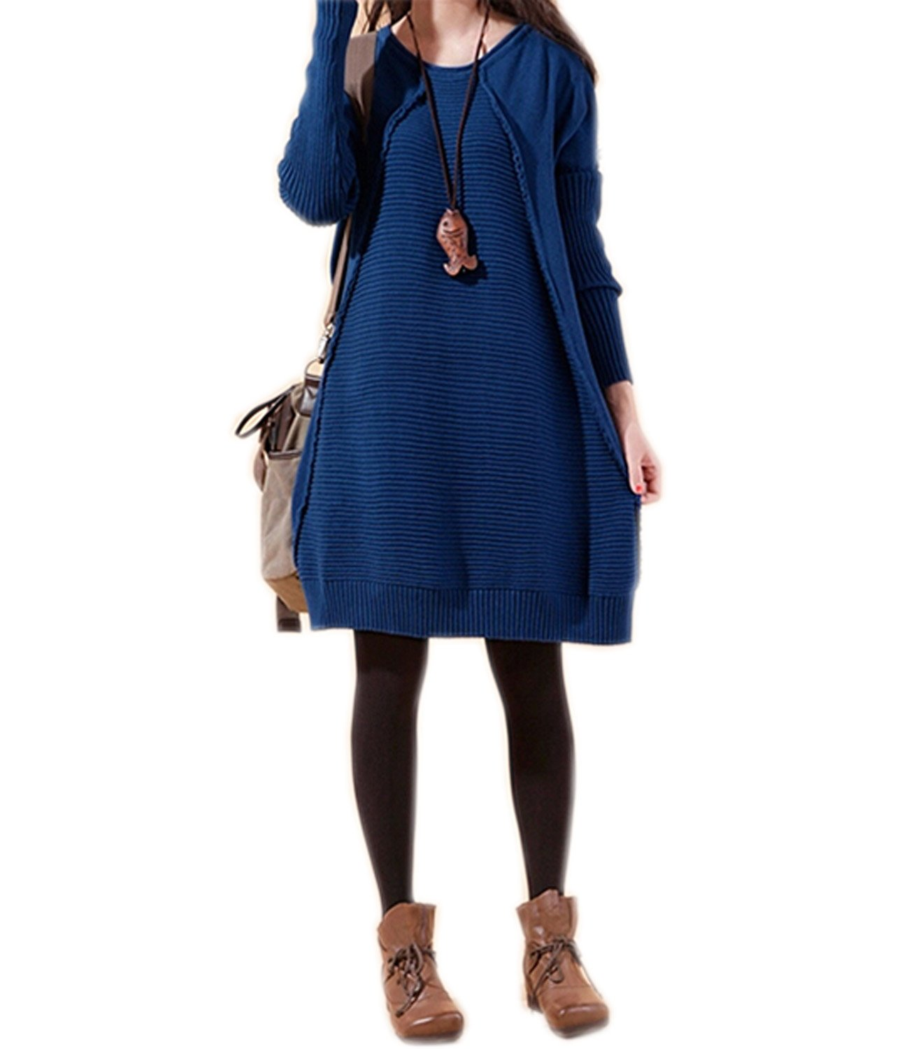 Medeshe Women's Knitted Pull Over Sweater Dress 100% Cotton (US 12/14, Blue)