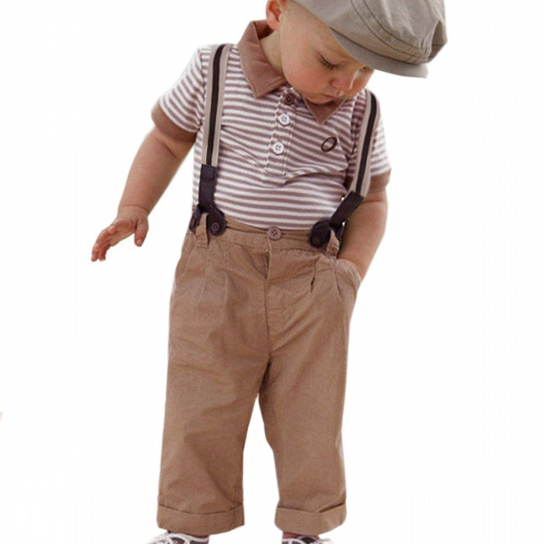 Yoyorule Boy Baby Striped Polo T-Shirt Top Bib + Pants Set Overalls Outfit Yoyorule 11