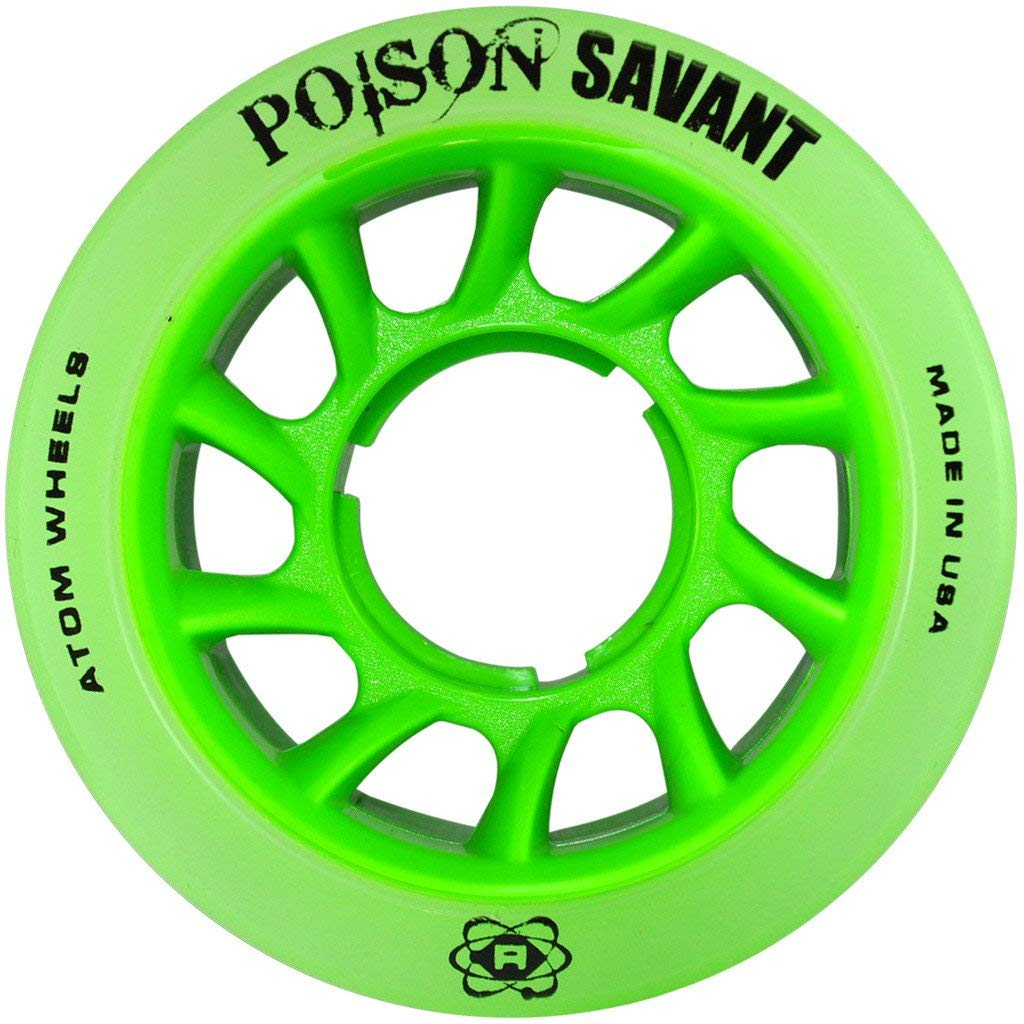 Atom Poison Savant Skate Wheels for Perfect Speed and Control, 84A 59mm x 38mm, Green, Set of 8